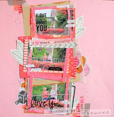 A lay-out with orange, red, black and pink. Homemade by Frences