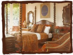Antique paisley decor in the guestroom of designer Martin Lawrence Bullard