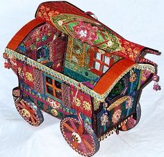 Gypsy wagon soft sculpture pattern by Arley Berryhill - open roof