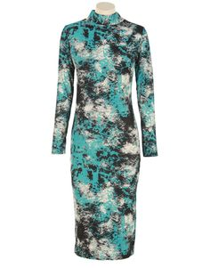 Green Tie Dye Long Sleeve Midi Dress  #Chiarafashion