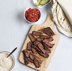 Skirt Steak Tacos with Spicy Sour Cream  #Fine Cooking