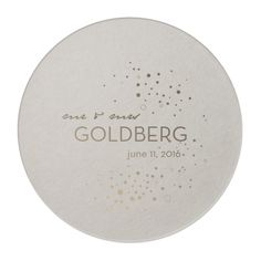 Custom Eggshell Round Coasters with Shiny Champagne on ForYourParty.com
