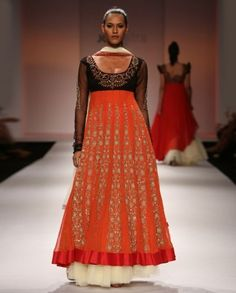 Tangy Red Long Anarkali Style Dress with Dupatta