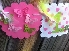 I AM 1 Banner with 3D BUTTERFLY in pinks & by BurleyGirlDesigns, $12.00