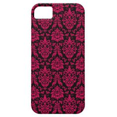 Hot Pink Black Damask Pattern iPhone 5 Cover Case.  Cool, trendy, girly, punk inspired hot pink and black floral damask pattern.