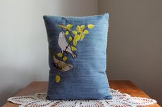 Embroidered decorative denim pillow 2 birds on a ♥ by haragraph, $35.00