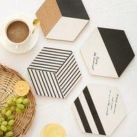 Geometric Hexagon Black and White Cork Table Coaster Trivet Set Table Coasters, Cork Coasters, Sous Bock, Cork Table, Cork Wood, Cup Mat, Cup Coaster, Coaster Design, Creation Deco