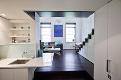 Tour an Impressively Roomy NYC Apartment - Microdwellings - Curbed NY Micro Apartment, Apartment Design, Apartment Living, Duplex Apartment, Studio Apartment, Apartment Ideas, Tiny House Living, City Living, Tiny Spaces