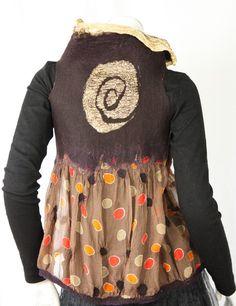 Reversible nuno felt vest / bolero - chocolate brown multicolored dots - golden metallic silk -  autumn shades -S to XS