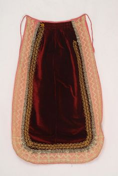 Burgundy velvet apron framed by gold embroidery and lace. Attica - Boeotia © Lyceum Club of Greek Women Greek Traditional Dress, Greek Costumes, Gold Embroidery, Greeks, Folk Costume, Macedonia, Albania, Beautiful Islands, Fabric Art