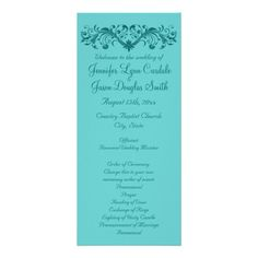 Elegant Flourish Teal Blue Wedding Programs
