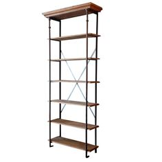 Tall French industrial bookcase / shelves | From a unique collection of antique and modern bookcases at https://www.1stdibs.com/furniture/storage-case-pieces/bookcases/