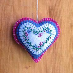 Embroidered felt heart