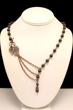 Alluring Brown Pearl Necklace with Leaf Focal in by byBrendaElaine, $36.00