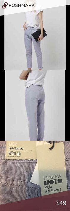 TOPSHOP Moto Lilac Mom Jeans Straight Leg 30x30 New with tags waist 30 length 30 hip 37 Topshop Jeans Straight Leg