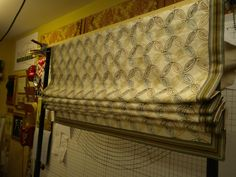This Roman shade has ribs inserted into pockets in the lining for stability. Judy Peters, www.palmettodrapery.com