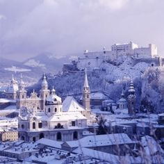 Salzburg - I really thing a trip to Austria is in order. Its just on the border right by Bavaria, so its do-able. Also this photo is a good reminder that when we go, everything will be covered in snow. Innsbruck, The Places Youll Go, Places To See, Austria Winter, Christmas In Europe, Salzburg Austria, Ski Austria, Destinations, Voyage Europe