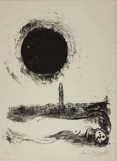 Marc Chagall, Black sun over paris, 1952