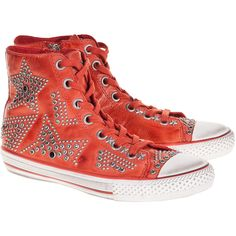 Ash Vibration Coral Studded Leather Sneakers found on Polyvore