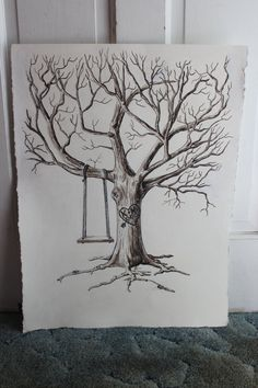 Guestbook Thumb Print Tree hand painted on 18x24 or by ArtistAve