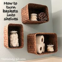 Baskets on wall for storage. Like this idea for the kids bathroom to keep the things out of reach for little hands but easy to grab when needed