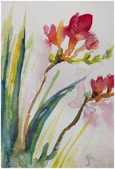 Loose & fluid freesias inspired by this online floral painting course: http://learn.angelafehr.com