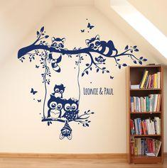 Wandtattoo Eulen Waschbären Eulenwandtattoo M1546 von deinewandkunst auf DaWanda.com