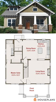 Small craftsman bungalow floor plan and elevation