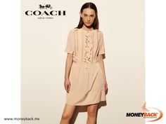MONEYBACK MEXICO. Delicate gathering, pleating and openwork in the tradition of fine dressmaking add romance to this silk dress in softest peach. The detail-rich front panel is full of contrast textures, with faceted custom buttons that provide a touch of polish. Shop COACH in Mexico and save taxes with our Moneyback service for foreign tourists! #moneyback www.moneyback.mx