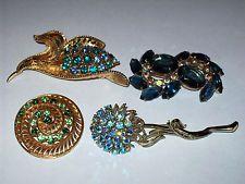 4 Piece Vintage Blue & Green Rhinestone Mixed Brooch/Pin Lot - Lisner, Coro