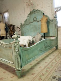 Painted Cottage Romantic French Aqua Eastern or California King Bed. $1,995.00, via Etsy.