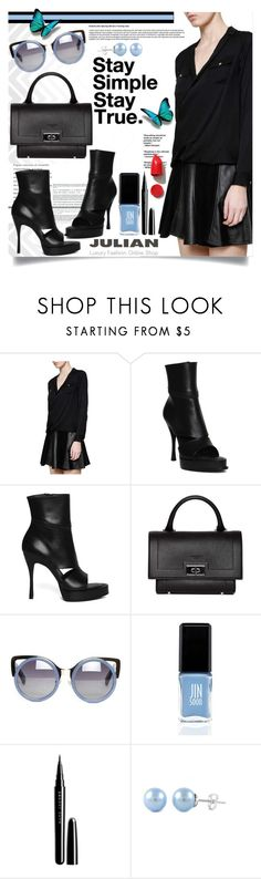 """""""Black on Black"""" by gorgeautiful ❤ liked on Polyvore featuring Seed Design, MICHAEL Michael Kors, Ann Demeulemeester, Givenchy, Linda Farrow, JINsoon, Marc Jacobs, NARS Cosmetics, office and Julian"""