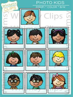 The Photo Kids clip art set is a fun set that could be used in a number of ways. This set features 19 various kids in both color and black & white for a total of 38 image files in png and jpg. All images are 300dpi for better scaling and printing.