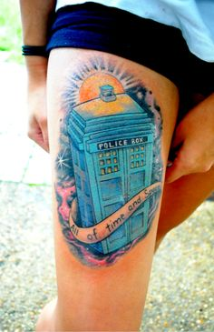 My TARDIS tattoo done by Alain at Euphoria Tattoos in Tallahassee, FL