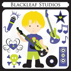 Little Rock Star Boy  musician guitar school by blackleafdesign, $5.00