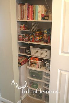 Why have I never thought to put a rubbermaid with drawers on the floor of my pantry? I have them in every other closet! duh!