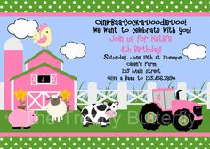 Farm Birthday Invitation Farm Animals Birthday Party Invitation Pink and Green Printable Invitation. $15.00, via Etsy.