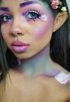 Spring fairy look. Pastels. Purple brow.