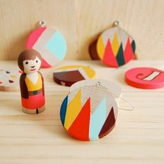 Christmas decorations - homemade painted shapes