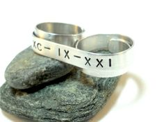 Number Ring Handstamped Roman Numeral Ring  Custom by MerCurios, $28.00