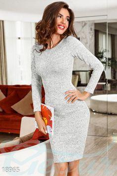 Меланжевое трикотажное платье фото 1