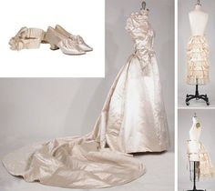 Creme Silk Satin Wedding Ensemble  American, 1894, fitted bodice with leg-of-mutton sleeves, high band collar, and 8' train from waistline, taffeta petticoat, and pair of satin ribbon garters, and pair of satin pumps with Louis XV heel and mother-of-pearl buckle. This gown was worn by Esther Maria Lewis at her wedding to Charles Merrill Chapin in 1894.  Her dad was an Ambassador to Portugal under President Cleveland and a great-great-grand daughter of George Washington's sister, Elizabeth.
