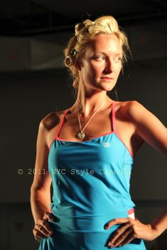 love the pink trim on the tennis dress by Wilson
