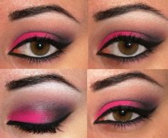 Hot pink and black makeup. Now I have a use for that crazy pink eyeshadow I bought for my Jem costume.