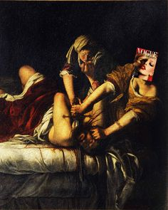 A Beautiful MurderTanya Dziahileva, Vogue Russia (Beauty Editorial Cover) February 2008 + Giuditta che decapita Oloferne by Artemisia Gentileschi