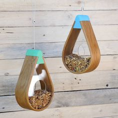 English Oak Bird Seed Feeder with colourful top holder and unique teardrop shapeThe top fixing hat is availabl… Bird Seed Feeders, Wooden Bird Feeders, Bird House Feeder, Steam Bending Wood, Water Bending, Metal Bending, Pink Sunflowers, How To Bend Wood, Bend And Snap