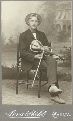 +~+~ Antique Photograph ~+~+  Hello handsome violin player.  Avesta, Sweden.