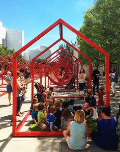 'mi casa, your casa' by hector esrawe and ignacio cadena features 40 three-dimensional open frames that form a blank canvas for community engagement. Installation Interactive, Interactive Design, Installation Art, Urban Furniture, Street Furniture, Concrete Furniture, Architecture Portfolio, Landscape Architecture, Architecture Diagrams