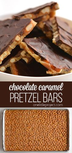 These chocolate caramel pretzel bars are SO GOOD and they& really easy to make! With only 4 ingredients they& a salty, crunchy and addictive treat! Candy Recipes, Baking Recipes, Cookie Recipes, Dessert Recipes, Dinner Recipes, Best Gingerbread Cookies, Delicious Desserts, Yummy Food, Semi Sweet Chocolate Chips