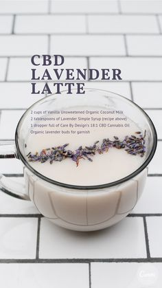 Calm your body and mind naturally with this sweet CBD lavender latte Lavender Latte Recipe, Lavender Recipes, Lavender Syrup, Tea Recipes, Coffee Recipes, Cooking Recipes, Yummy Drinks, Healthy Drinks, Healthy Recipes